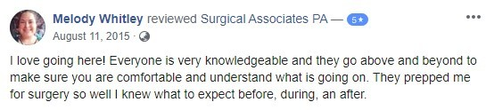 Melody Whitley Surgical Associates Testimonial